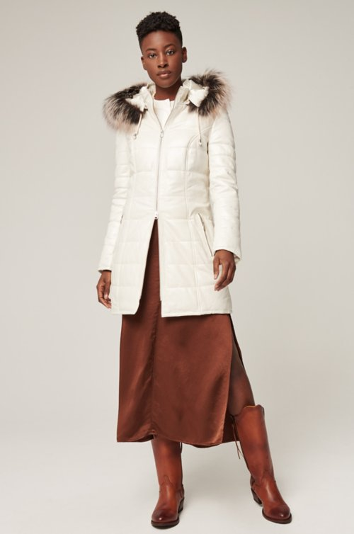 Maria Lambskin Leather Coat with Fur Trim and Detachable Hood