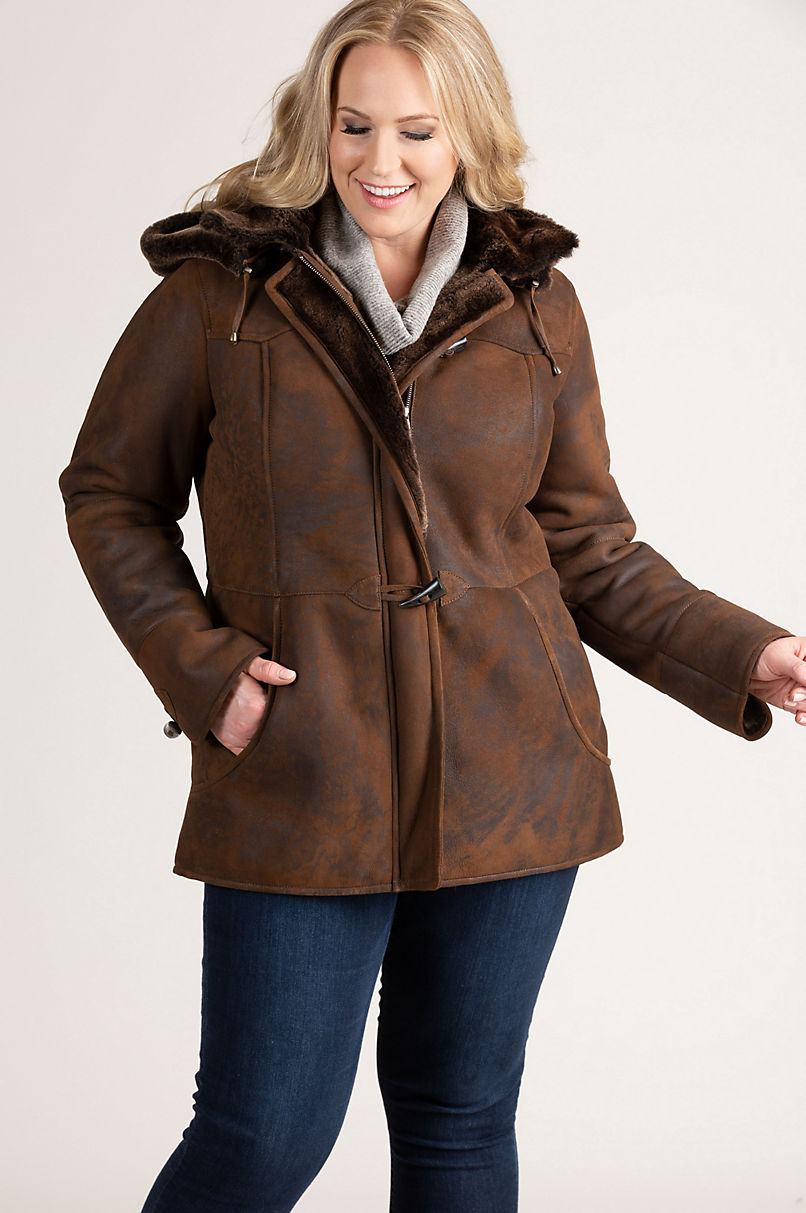 Piper Shearling Sheepskin Coat with Detachable Hood – Plus (18 – 24)