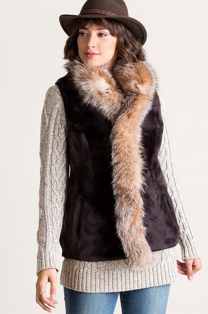 Chantal Reversible Sheepskin Vest with Finnish Fox Fur Trim