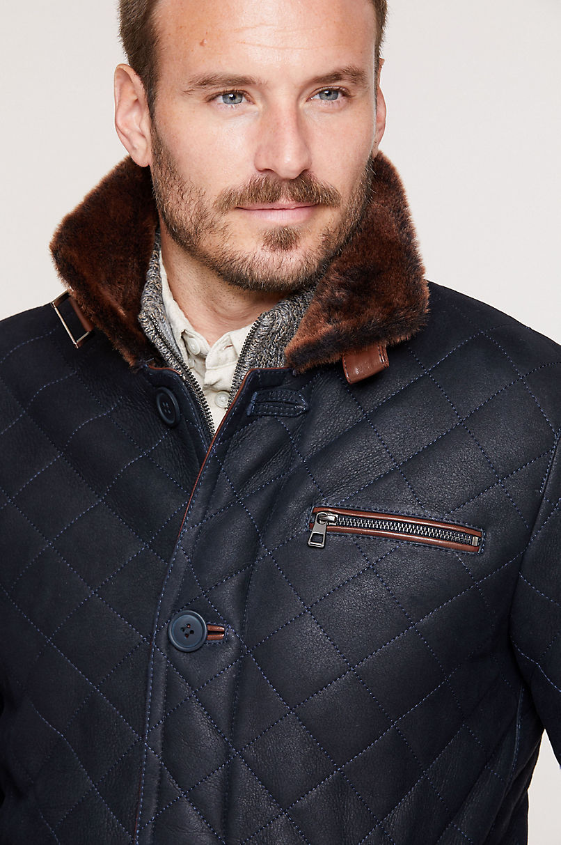 Hayes Quilted Spanish Shearling Sheepskin Car Coat - Big (48 - 52)