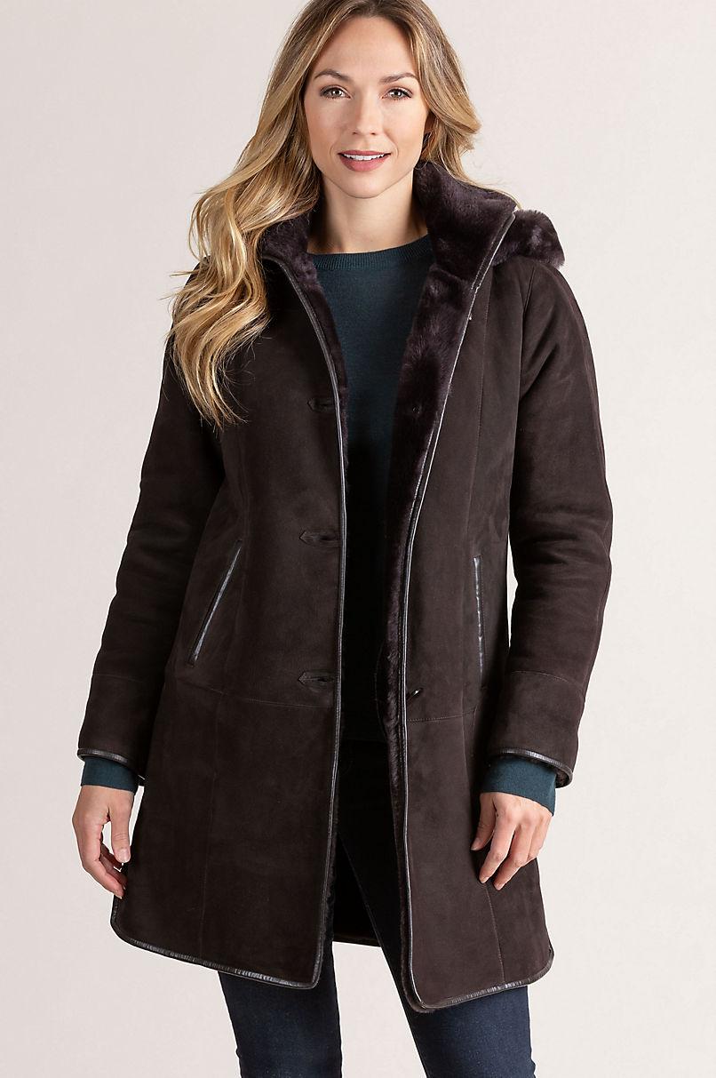 Yolanda Shearling Sheepskin Coat with Lambskin Leather Trim and Detachable Hood