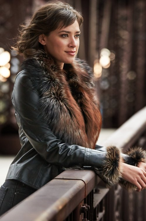 Celestine Lambskin Leather Moto Jacket with Fox Fur Trim