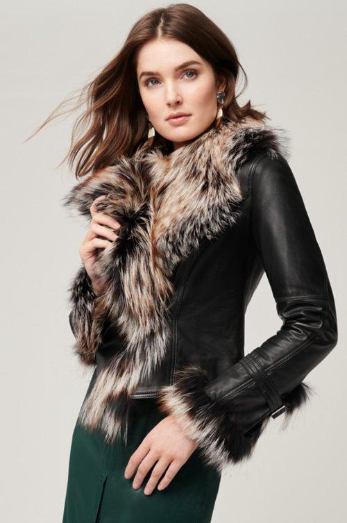 Celestine Lambskin Leather Moto Jacket with Fox Fur Trim