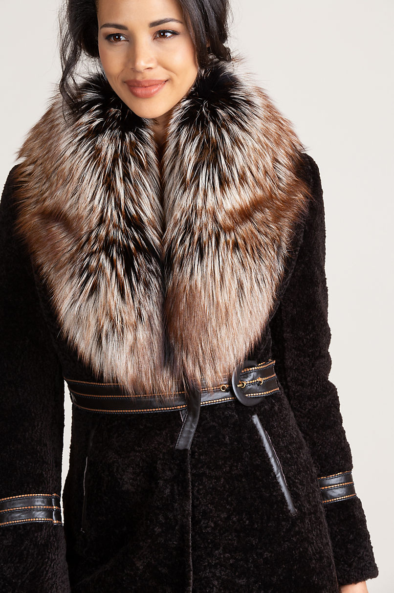Rochelle Astrakhan Lamb Fur Coat with Silver Fox Fur Collar