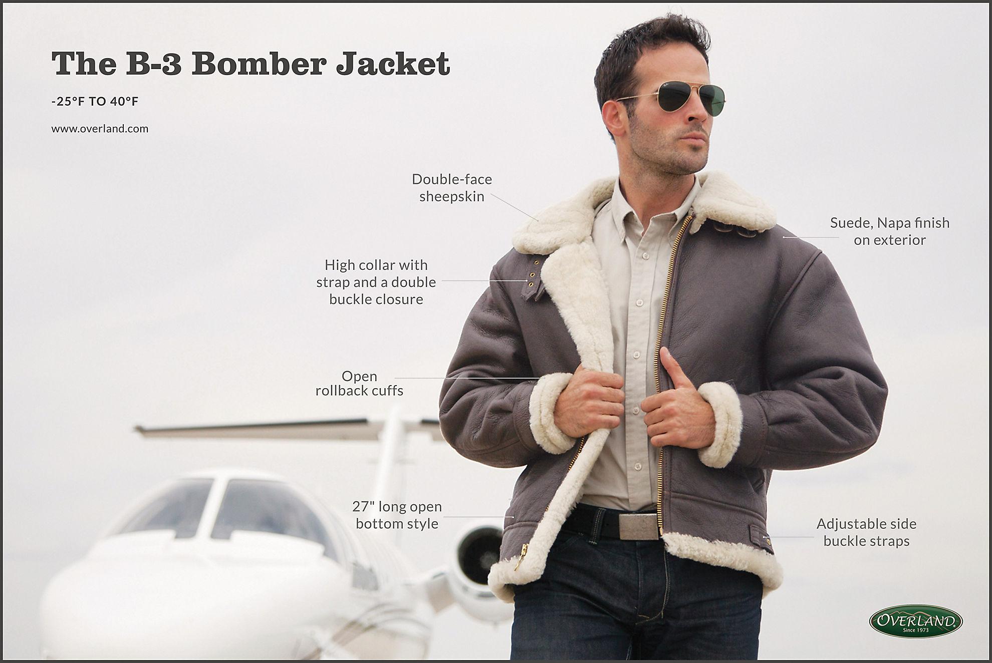 Overland Classic Sheepskin B-3 Bomber Jacket