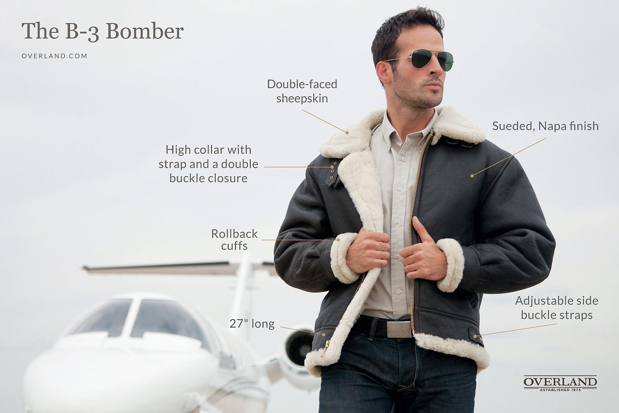 Classic Sheepskin B-3 Bomber Jacket with Detachable Hood
