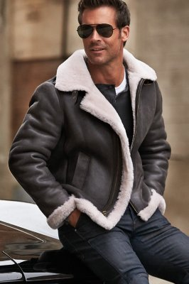 Overland Classic Sheepskin B-3 Bomber Jacket with Detachable Hood
