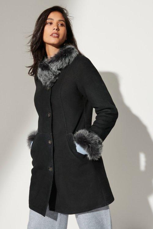 Kaye Merino Shearling Sheepskin Coat with Toscana Trim and Detachable Hood