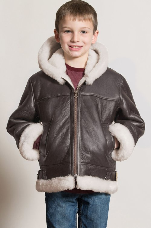 Children's Unisex Hooded Sheepskin B-3 Bomber Jacket