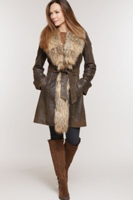 Farrah Distressed Lambskin Leather Coat with Raccoon Fur Collar