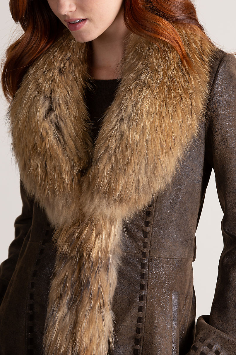 Felicity Distressed Lambskin Leather Coat with Raccoon Fur Collar