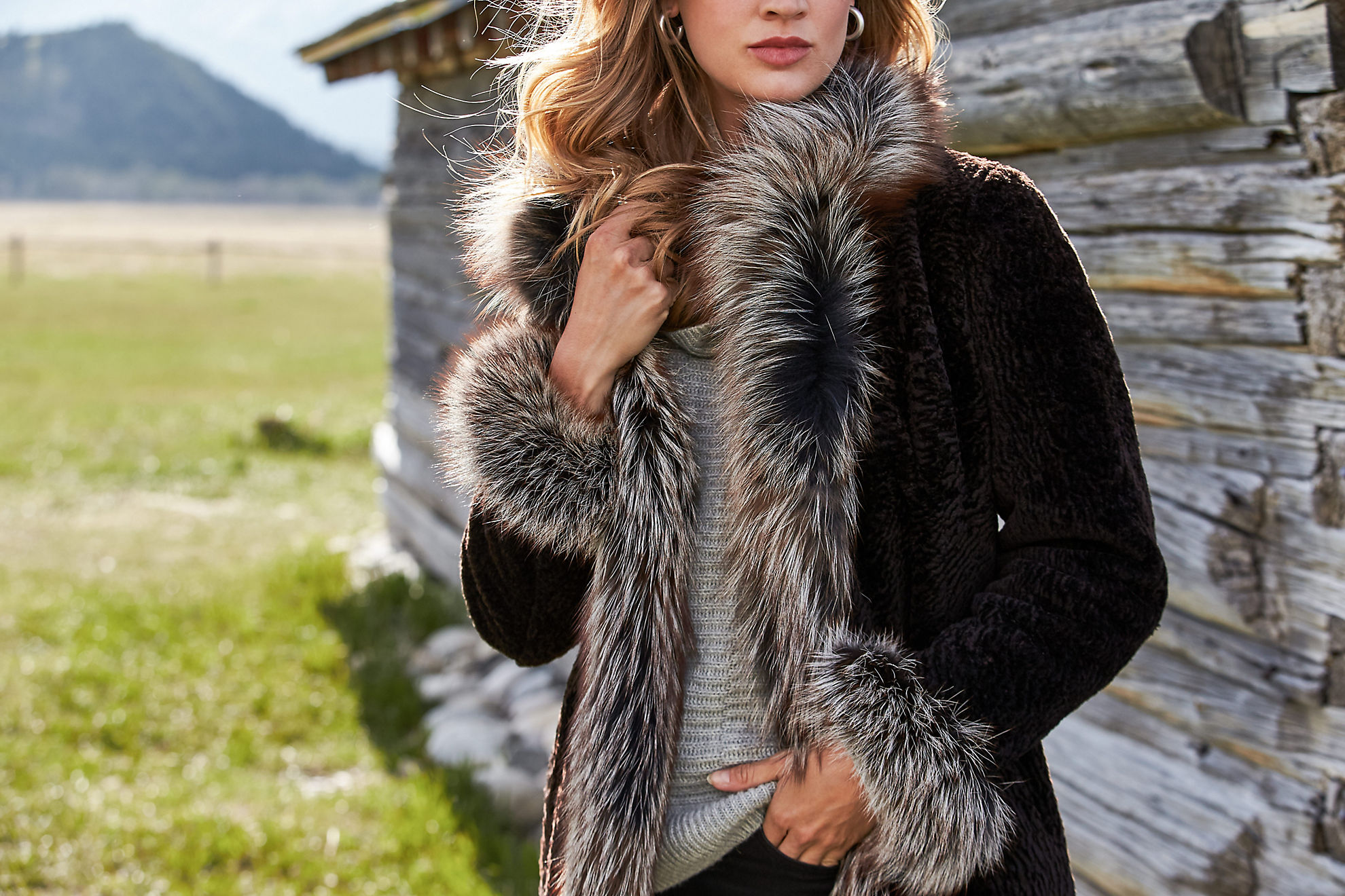 Grace Reversible Astrakhan Lamb Fur and Leather Coat with Fox Fur Trim