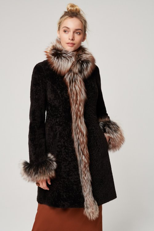 Grace Reversible Astrakhan Lamb Fur and Leather Coat with Fox Fur Trim