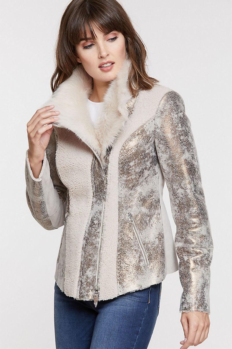 Vegas Studded Sheepskin Jacket with Toscana Trim