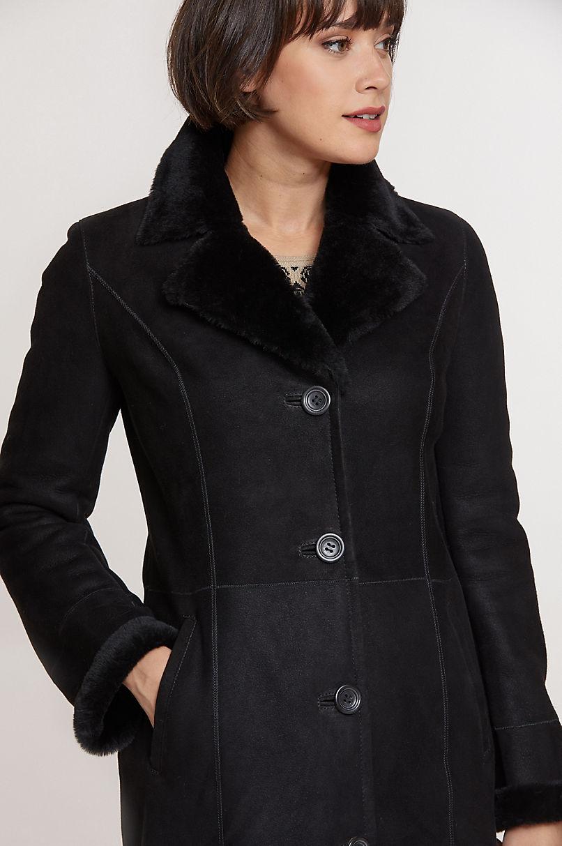 Raven Shearling Sheepskin Coat