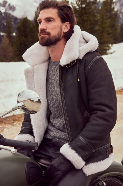 Classic Sheepskin B-3 Bomber Jacket with Detachable Hood