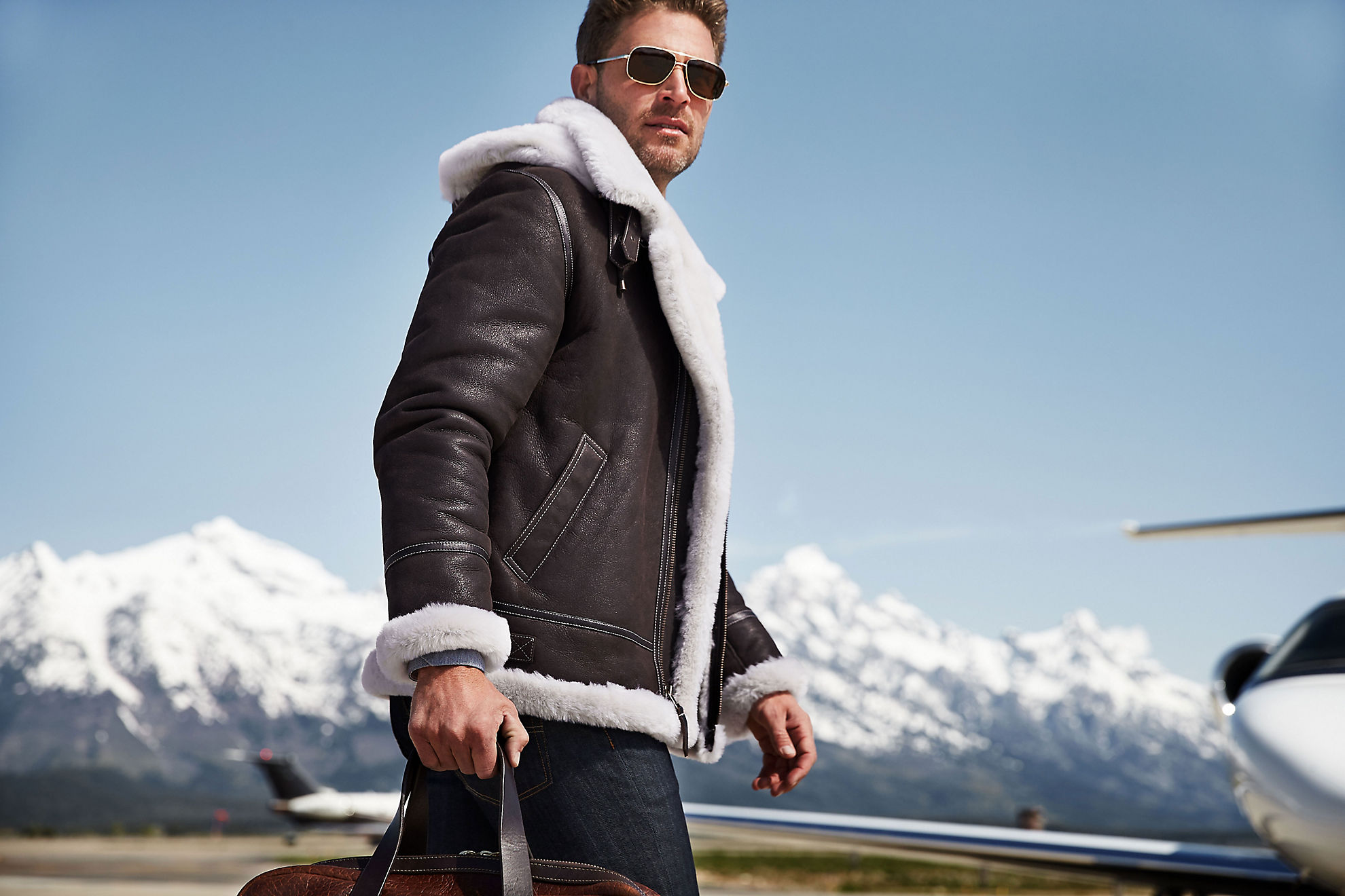 Classic Sheepskin B-3 Bomber Jacket with Detachable Hood - Tall (38LT - 56LT)
