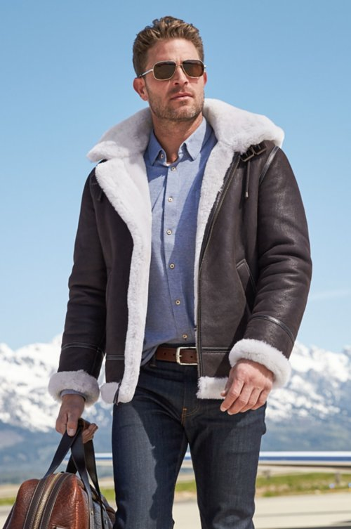 Classic Shearling B-3 Bomber Jacket with Detachable Hood - Tall (38LT - 56LT)