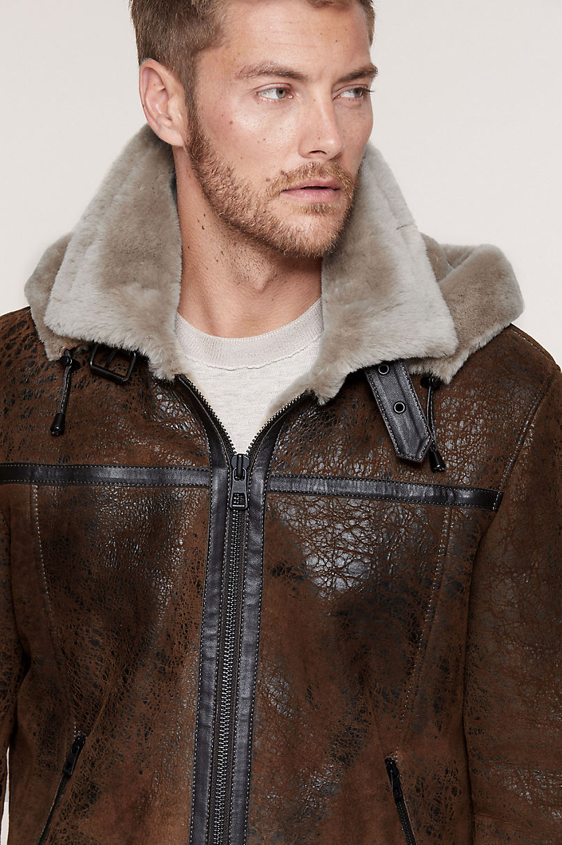 Special Edition Merino Sheepskin B-3 Bomber Jacket with Detachable Hood