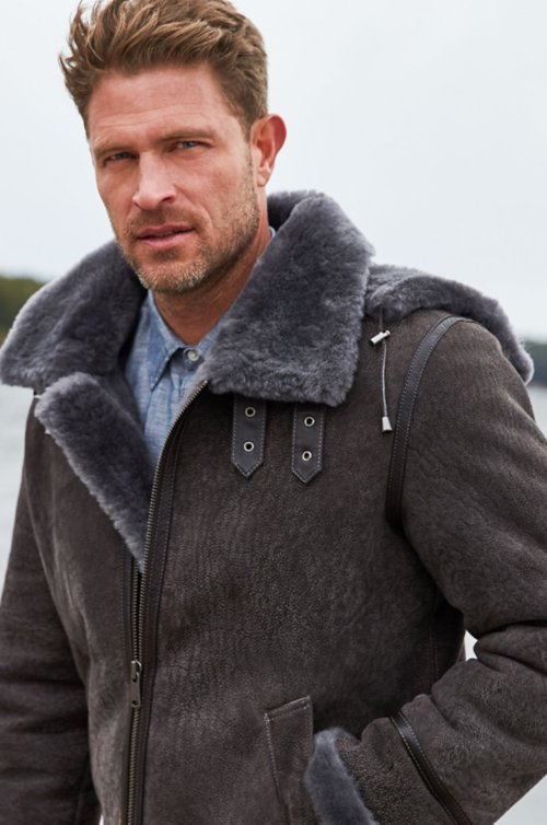 Special Edition Pebble Grey Sheepskin B 3 Er Jacket With Detachable Hood