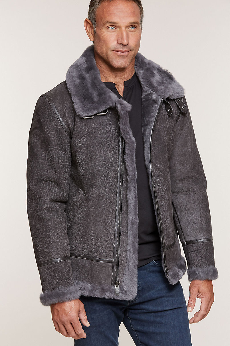 Special Edition Pebble Grey Sheepskin B-3 Bomber Jacket with Detachable Hood