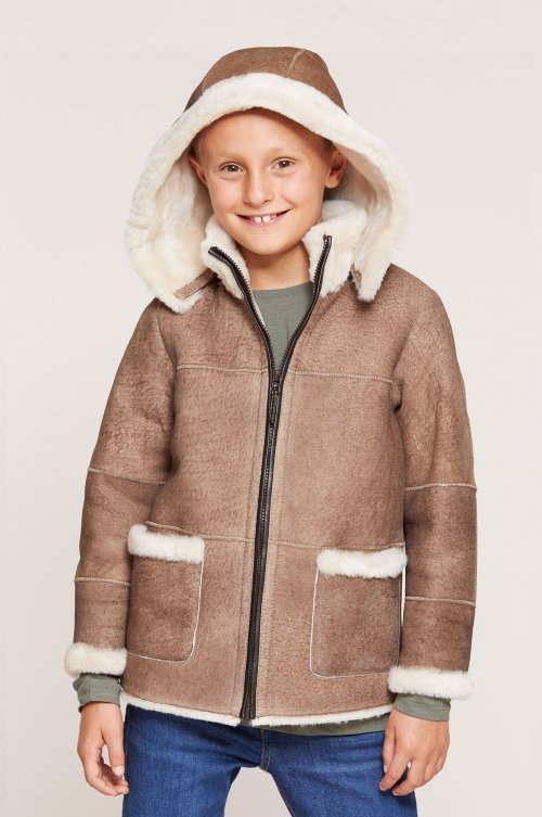 Children's Unisex Sheepskin Jacket with Detachable Hood