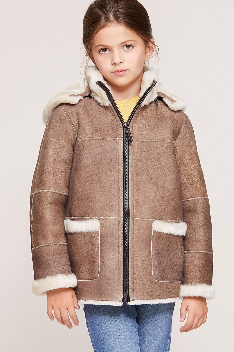Children's Unisex Sheepskin Jacket with Detachable Hood