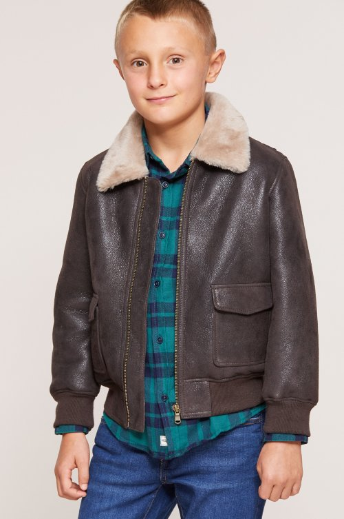Children's Unisex Sheepskin Bomber Jacket