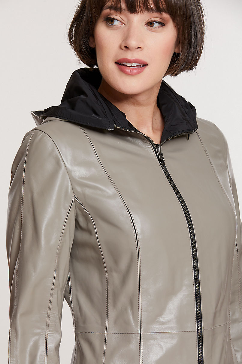 Rowena Reversible Lambskin Leather Coat with Detachable Hood