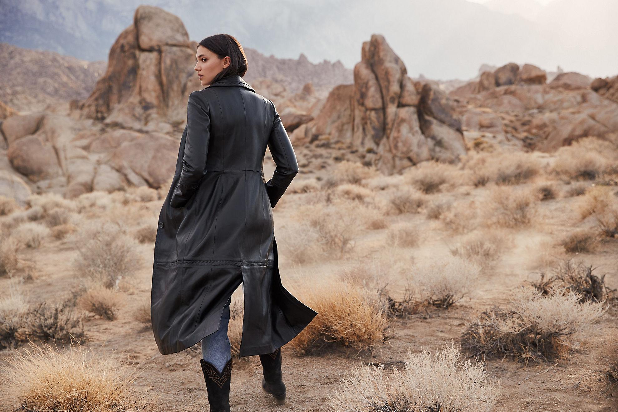 Hazel Full-Length Italian Lambskin Leather Trench Coat