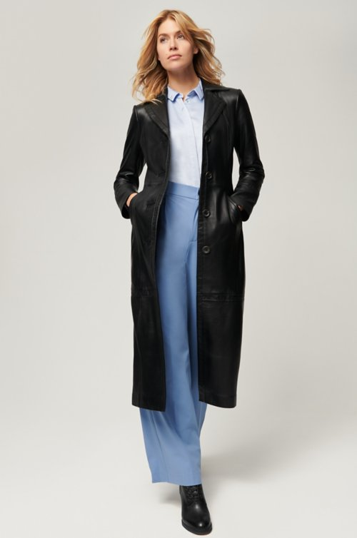 Hazel Full-Length Italian Lambskin Leather Coat