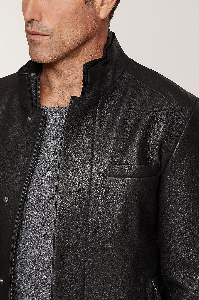Steven Lambskin Leather Blazer Jacket
