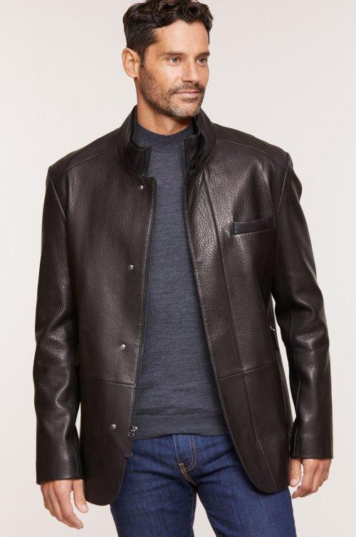 Steven Lambskin Leather Blazer Jacket