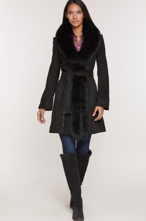 Felicity Lambskin Suede Leather Coat with Fox Fur Trim