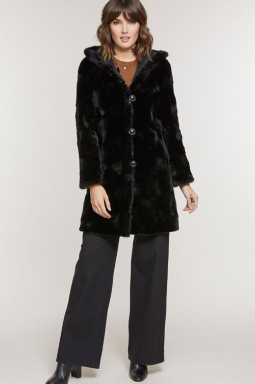 Betsy Reversible Hooded Mink Fur Coat