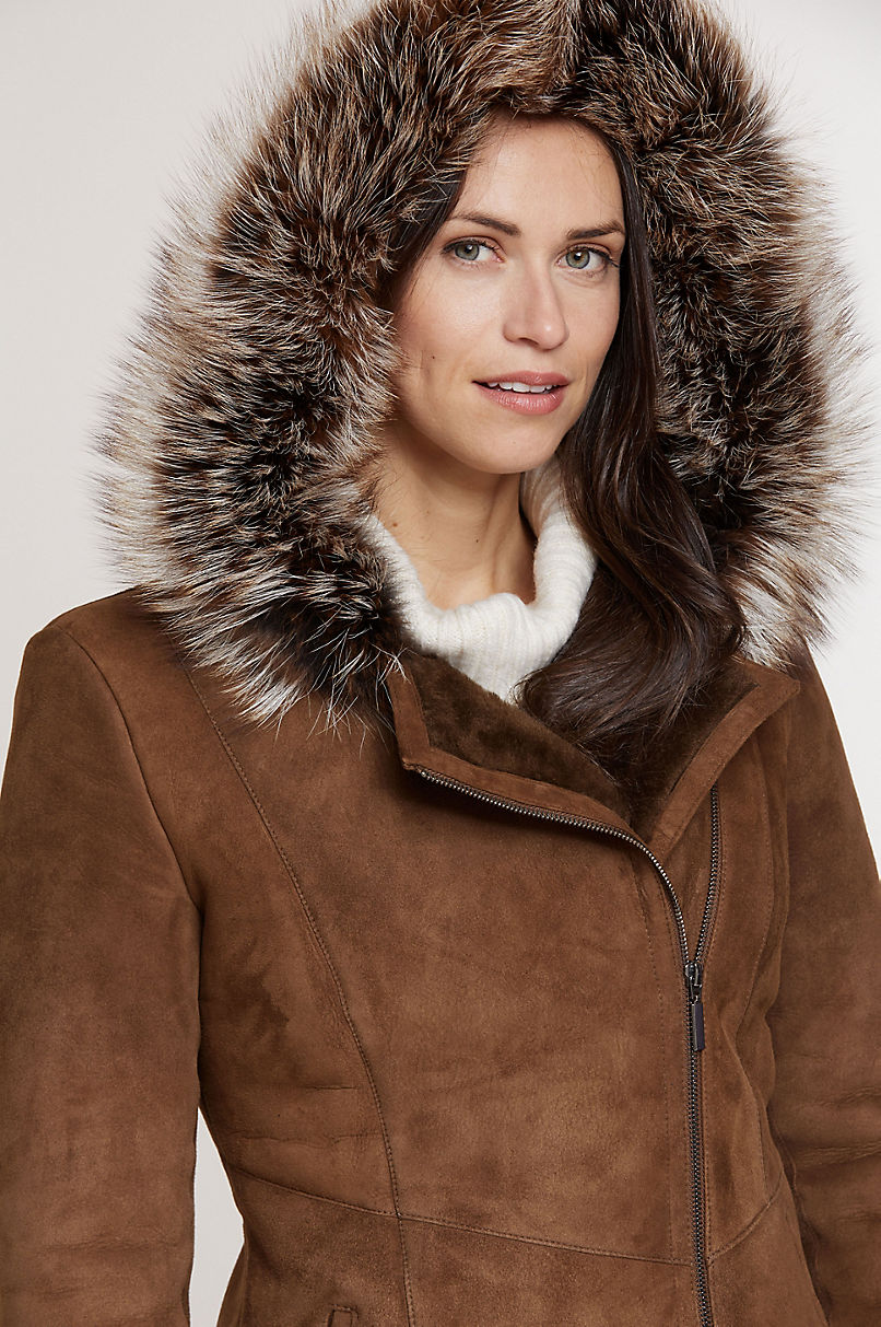 Elle Hooded Shearling Sheepskin Jacket with Fox Fur Trim