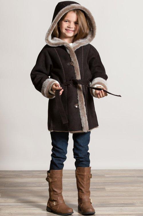 Girl's Isabella Hooded and Belted Shearling Sheepskin Stroller Coat
