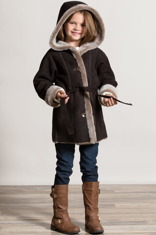 Girl's Isabella Hooded and Belted Shearling Sheepskin Stroller Coat