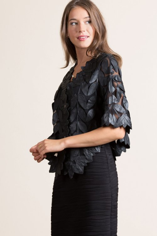 Paradise Floral Lambskin Leather Cape
