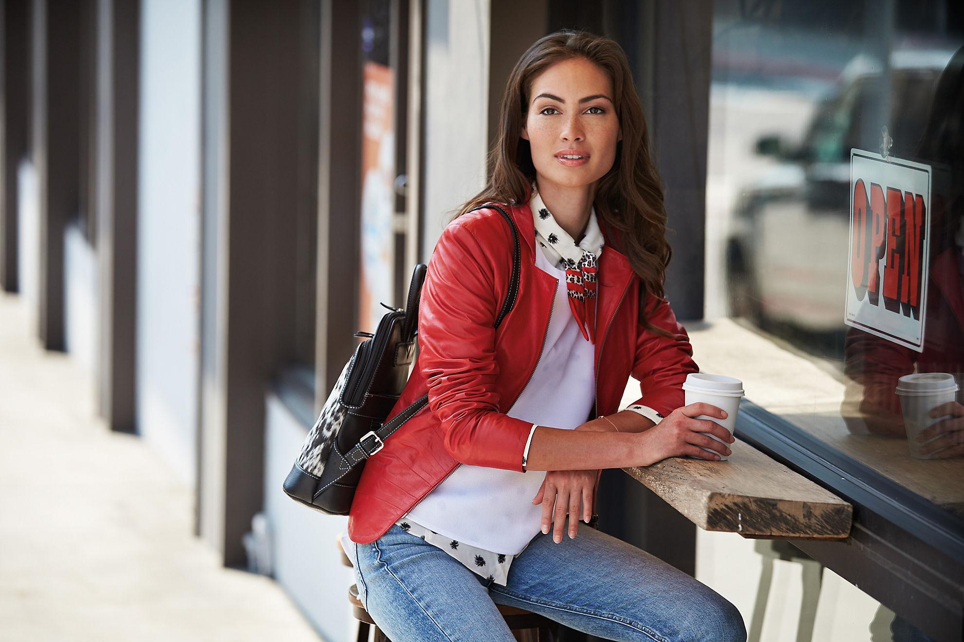 Tanya Italian Goatskin Leather Moto Jacket