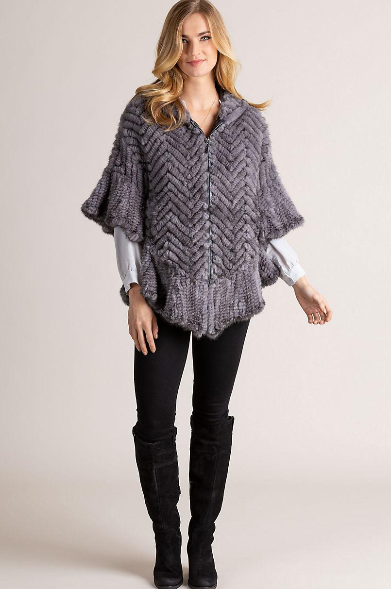 Bettina Hooded Zip-Front Herringbone Knitted Mink Fur Poncho