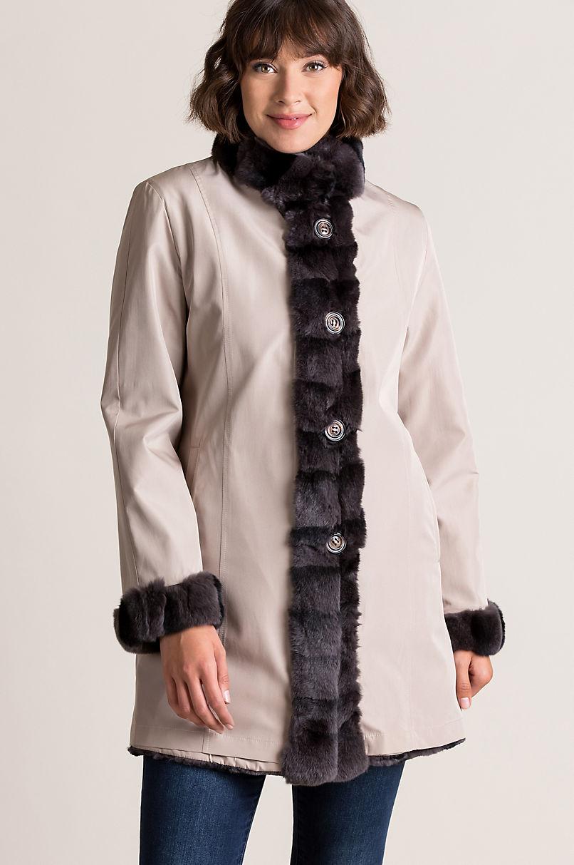Inez Reversible Spanish Rex Rabbit Fur Coat