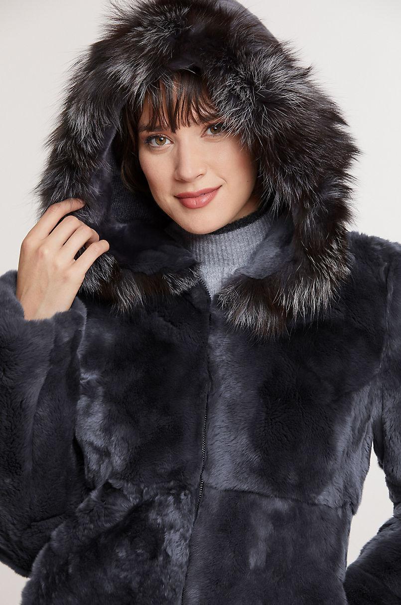 Dani Hooded Rex Rabbit Fur Coat with Fox Fur Trim