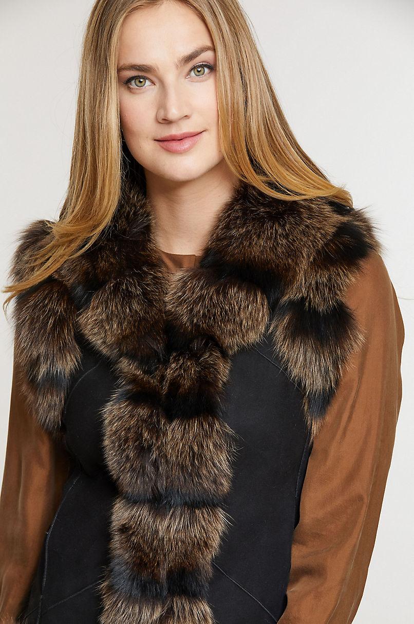 Laura Shearling Sheepskin Vest with Fox Fur Trim
