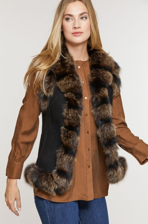Laura Shearling Sheepskin Vest with Fox Fur Trim