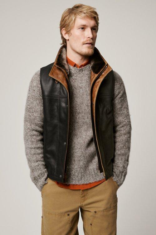 Trekker Goatskin Leather Vest with Shearling Collar