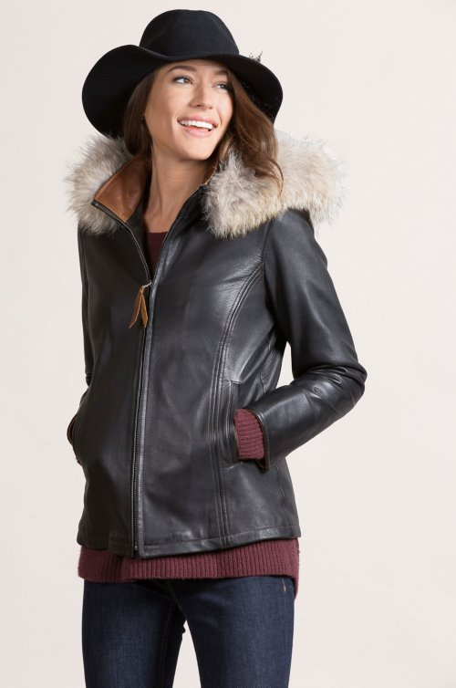Marie Claire Lambskin Leather Jacket with Coyote Fur Trim and Detachable Hood