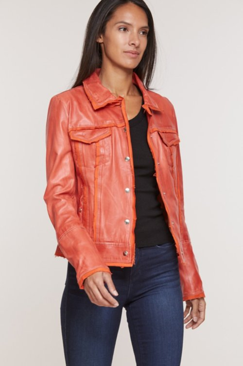 Coraline Washed Lambskin Leather Jacket