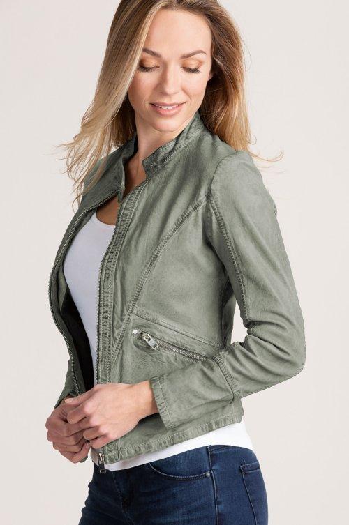 Madison Washed Lambskin Leather Moto Jacket
