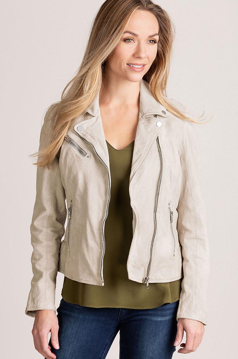 Sofia Lambskin Leather Moto Jacket